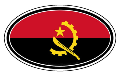 Angola Flag Sticker Oval
