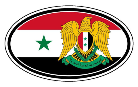 Syria Flag and Coat of Arms Eagle Sticker Oval