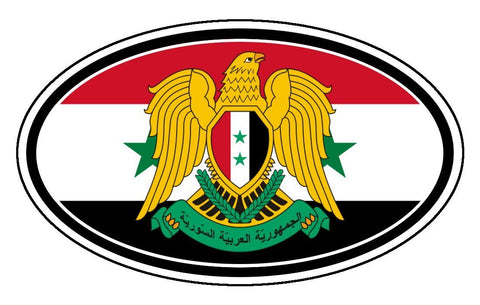 Syria Flag Eagle Sticker Oval