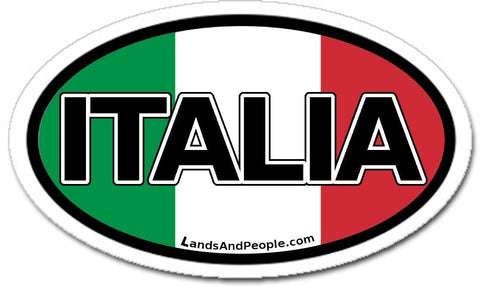 Italia Italy in Italian and Italian Flag Bumper Vinyl Sticker Oval