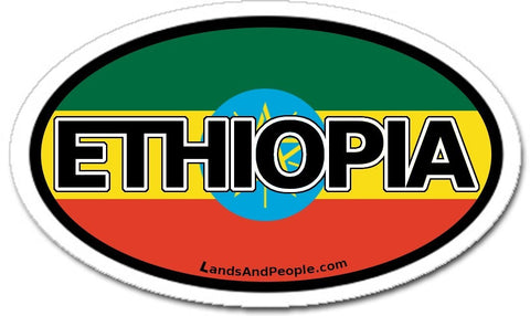 Ethiopia Car Bumper Sticker Decal Oval