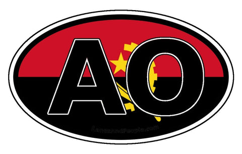 AO Angola Flag Sticker Oval
