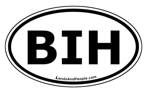 BIH Bosnia and Herzegovina Car Sticker Decal Oval Black and White