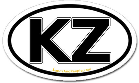 KZ Kazakhstan Sticker Oval Black and White
