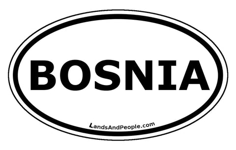 Bosnia Car Sticker Decal Oval Black and White