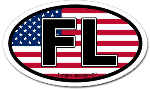 FL Florida and US Flag Car Vinyl Sticker Decal Oval