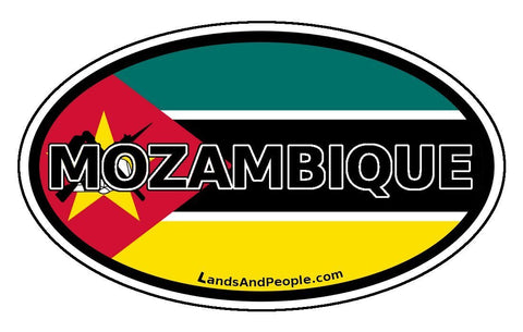 Mozambique Flag Sticker Oval