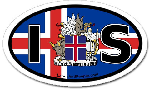 IS Iceland Flag and Coat of Arms Sticker Oval