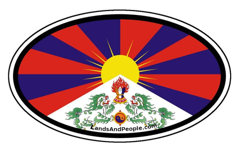 Tibet Tibetan Flag Sticker Decal Oval