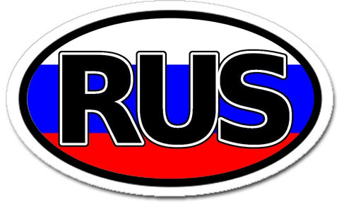 RUS Russia Flag Sticker Oval