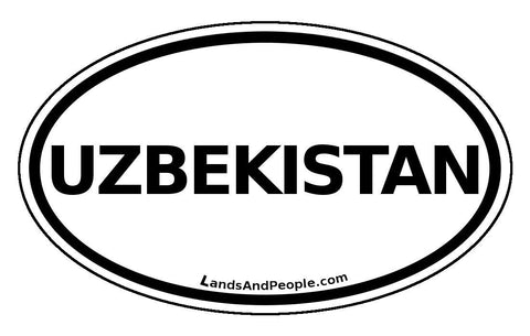 Uzbekistan Sticker Oval Black and White