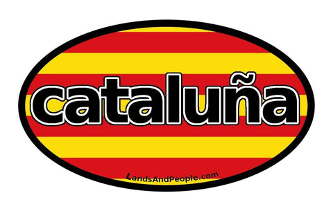 Cataluña Catalonia in Spanish Catalonian Flag Sticker Oval