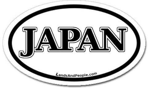 Japan Car Sticker Oval Black and White