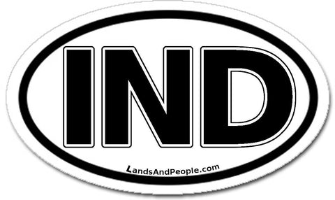 IND India Sticker Oval Black and White