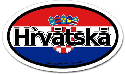 Hrvatska Croatia Flag Car Bumper Sticker Decal Oval