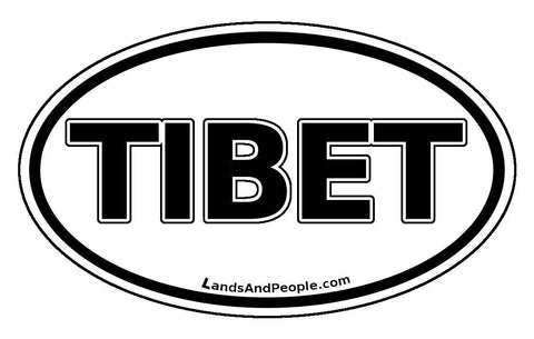Tibet Sticker Decal Oval Black and White