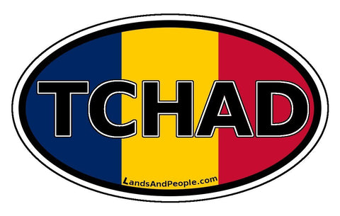 Tchad Chad Flag Sticker Oval