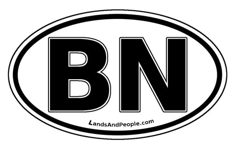 BN Brunei Sticker Oval Black and White