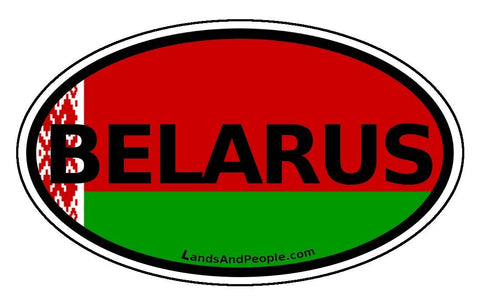 Belarus and Belorussian Flag Car Bumper Sticker Decal Oval - Lands & People