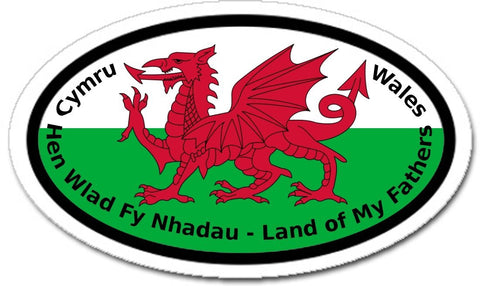 Hen Wlad fy Nhadau, Land of My Fathers, National Anthem of Wales, Welsh Flag Car Bumper Sticker Oval