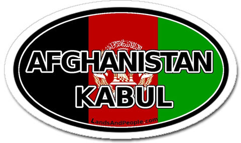 Afghanistan Kabul Flag Sticker Oval