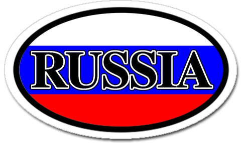 Russia Flag Sticker Oval