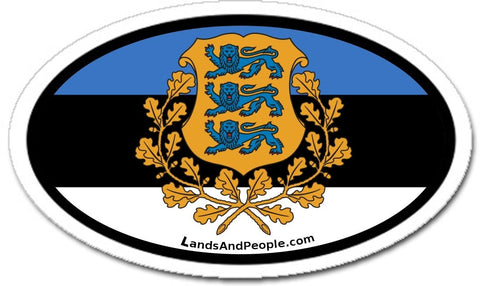 Estonia Flag Coat of Arms Car Sticker Decal Oval