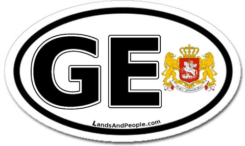 GE Georgia Sticker Oval Black and White