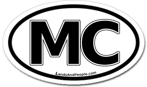 MC Monaco Sticker Oval Black and White