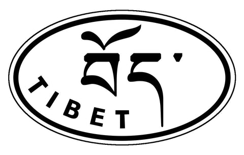 བོད་ Tibet Sticker Decal Oval Black and White