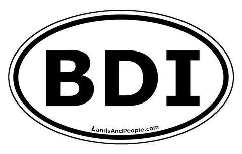 BDI Burundi Sticker Oval Black and White