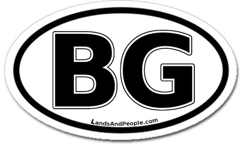 BG Bulgaria Car Bumper Sticker Decal Oval Black and White