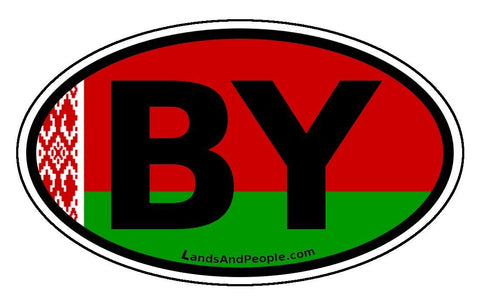 Belarus BY Belorussian Flag Car Bumper Sticker Decal Oval
