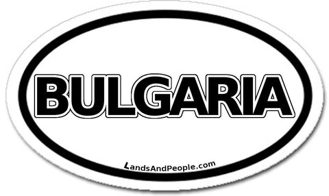 Bulgaria Car Bumper Sticker Decal Oval Black and White