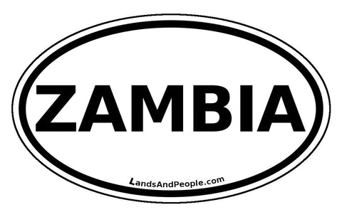 Zambia Sticker Oval Black and White