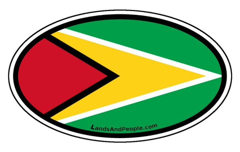 Guyana Flag Auto Bumper Sticker Decal