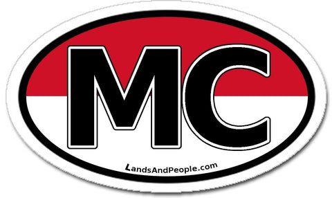 MC Monaco Flag Sticker Oval