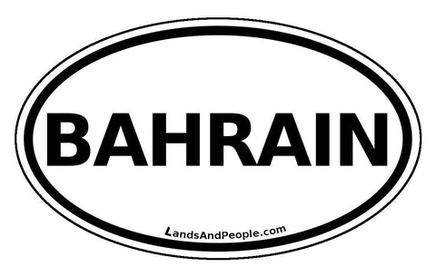 Bahrain Sticker Oval Black and White