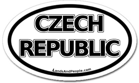 Czech Republic Sticker Decal Oval Black and White