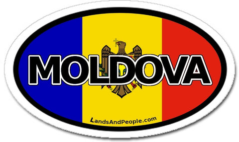 Moldova Flag Sticker Oval