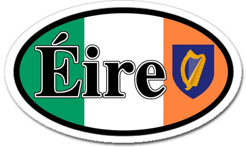Eire Irish Harp Ireland Flag Car Bumper Sticker Decal Oval