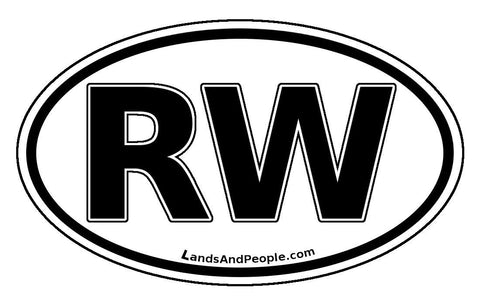 RW Rwanda Car Sticker Oval Black and White