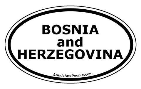 Bosnia and Herzegovina Car Bumper Sticker Decal Oval Black and White