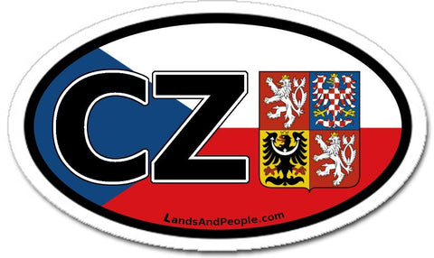 CZ Czech Republic Flag Coat of Arms Sticker Decal Oval