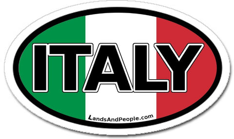 Italy and Italian Flag Car Bumper Vinyl Sticker Oval