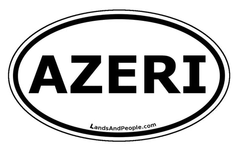 Azeri Azerbaijan Sticker Oval Black and White - Lands & People