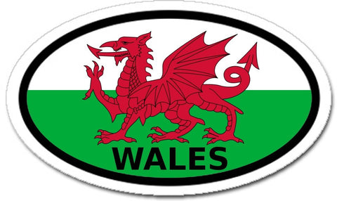 Wales and Flag of Wales with Red Dragon Car Bumper Oval Sticker