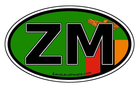 ZM Zambia Flag Sticker Oval
