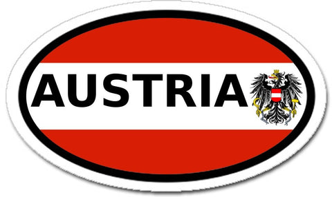 Austria and Austrian Flag and Eagle Car Bumper Sticker Oval