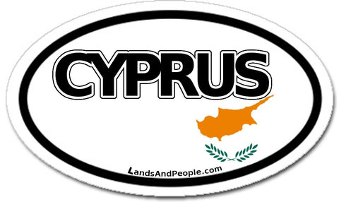 Cyprus Flag Sticker Oval